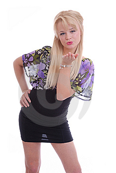 Pretty Blond Girl Blowing Kiss Stock Images - Image: 14858204
