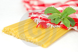 Spaghetti Pasta And Green Stevia Herb Stock Photos - Image: 14858403
