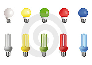 Ten Multi-colored Lamps Royalty Free Stock Images - Image: 14859719