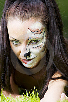 Woman With Tigress Face Art Portrait Royalty Free Stock Images - Image: 14868869