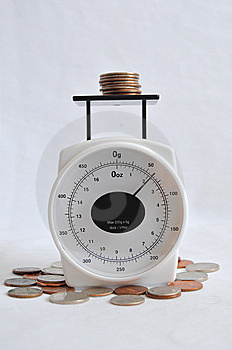 Coins On A Weight Scale Royalty Free Stock Images - Image: 14874969