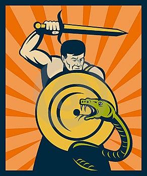 Warrior Sword Shield Snake Royalty Free Stock Images - Image: 14875569