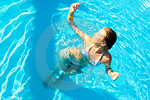 Woman In A Pool Royalty Free Stock Image - Image: 14876616