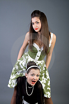 Two Happy Retro-styled Girls Stock Images - Image: 14881014