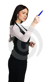 Cute Businesswoman Writing With A Marker Royalty Free Stock Photos - Image: 14881998
