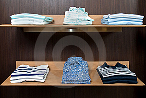 Wooden Store Shelf With Color Clothes Royalty Free Stock Photo - Image: 14883295
