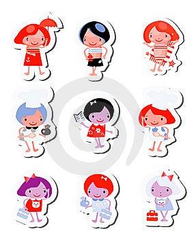 Happy Kids Icons Sticker Set Stock Photos - Image: 14883313