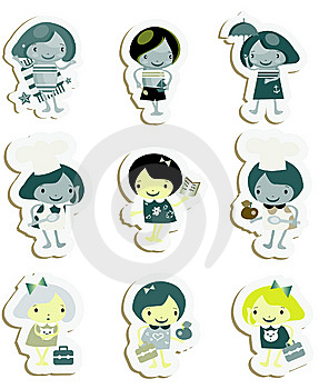 Happy Kids Icons Sticker Set Stock Images - Image: 14883314