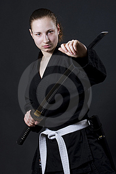 Female Samurai Holding Katana Royalty Free Stock Photos - Image: 14883698