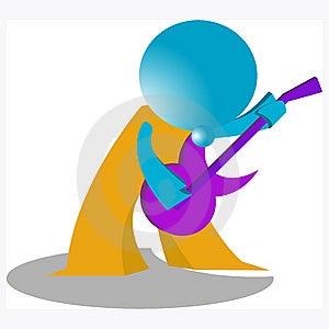 Blueman Guitar Player Stock Image - Image: 14883731