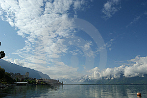 View Of Lake Geneva And The Alps Royalty Free Stock Photo - Image: 14884485