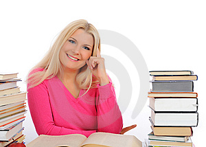 Portrait Of Young Smart Woman With Lots Of Books Royalty Free Stock Photography - Image: 14885527