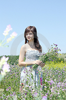 The Girl With A Bouquet Royalty Free Stock Photo - Image: 14892565