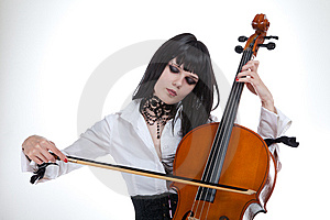 Portrait Of Attractive Girl Playing Cello Royalty Free Stock Photo - Image: 14892745