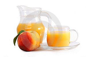 Ripe Peach And Fresh In A Glass Royalty Free Stock Images - Image: 14893539