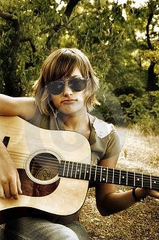 Teenage Girl Playing Guitar Royalty Free Stock Photos - Image: 14893678
