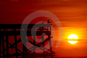 Morning Fishing On The Pier Royalty Free Stock Photos - Image: 14895288