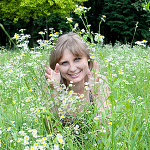 A Girl Among The Flowers Stock Image - Image: 14895421