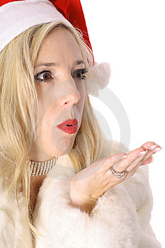 Gorgeous Santa Woman Blowing Kiss Stock Images - Image: 14896824