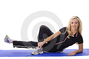 Blonde Working Out Leg Lifts Royalty Free Stock Photos - Image: 14897578