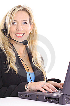 Gorgeous Blonde At Work On Computer Royalty Free Stock Photography - Image: 14897607