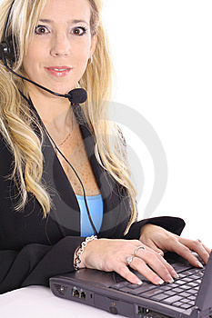 Blonde At Work On Computer Stock Photo - Image: 14897610
