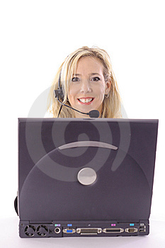 Blonde On Laptop Vertical Stock Photography - Image: 14897622