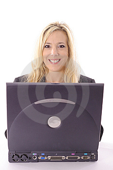 Happy Beautiful Blonde Checking Email Stock Photos - Image: 14897633