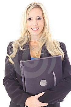Gorgeous Blonde Holding Laptop Stock Images - Image: 14897714