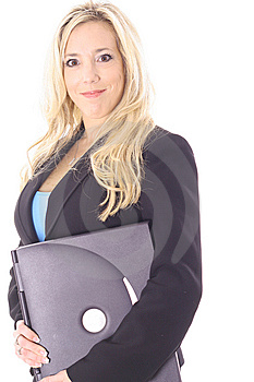 Woman Holding A Laptop Stock Photography - Image: 14897722