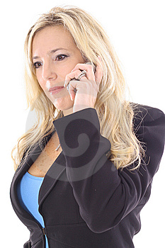 Blonde In Business Suit On Cellphone Royalty Free Stock Images - Image: 14897739