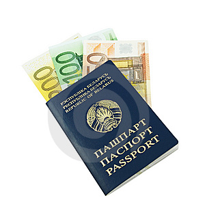 Passport With Euro Banknotes Stock Photos - Image: 14898433
