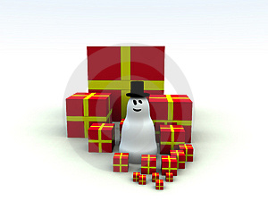 Snowman And Christmas Presents 5 Stock Photo - Image: 1492670