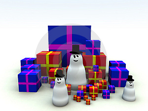 Snowman And Christmas Presents 7 Stock Images - Image: 1492674