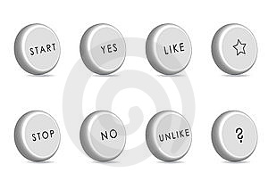 Monotone 3D Buttons With Simple Words Stock Photography - Image: 14901682