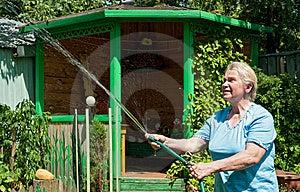 Uma Mulher Sênior Com água No Jardim Fotos de Stock - Imagem: 14905923