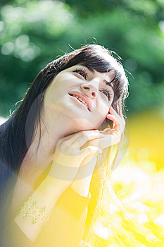 Young Beautiful Girl With Long Black Hair Royalty Free Stock Photography - Image: 14906797