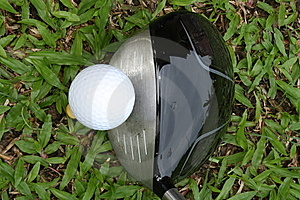 Golf Driver And Ball Viewed From Top Stock Photography - Image: 14908522