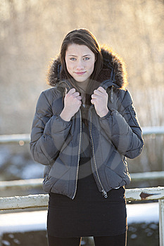 Teenage Girl In Winter Woods Royalty Free Stock Photography - Image: 14909437