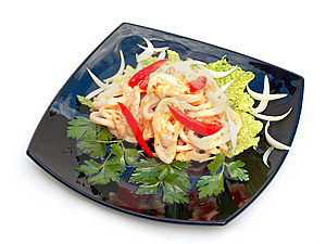 Hot Salad With Seafoods. Stock Image - Image: 14910791