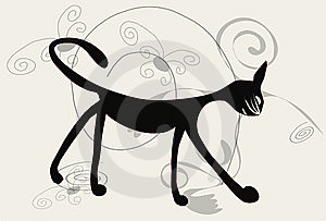 Black Cat On White Background Stock Photography - Image: 14915982