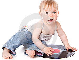 The Small Child With A Black Gramophone Record Stock Photos - Image: 14924083