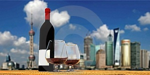 Three-dimensional Wine Bottle And Wine Glass Stock Photography - Image: 14928042