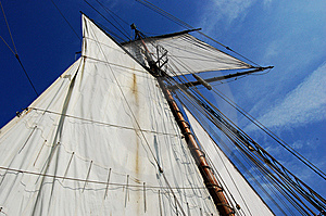 Sails Of Antique Sailing Ship Lynx Stock Photography - Image: 14928492