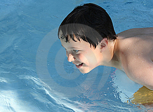 Sunlit Boy In Pool Royalty Free Stock Photos - Image: 14928608