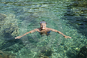 Happy Laughing Man In The Sea Stock Photos - Image: 14933393