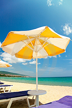 Bright Umbrellas And Chairs Royalty Free Stock Photo - Image: 14933645