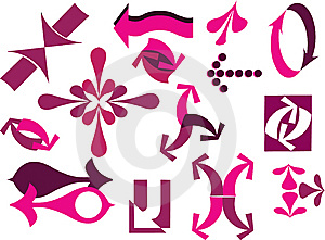 A  Set Of Pink Useful Arrows-2 Royalty Free Stock Photo - Image: 14934015