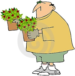 Man Holding Two Potted Plants Royalty Free Stock Photography - Image: 14934687