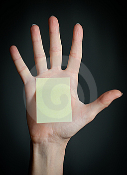 Female Hand With Blank Note Stock Image - Image: 14934991